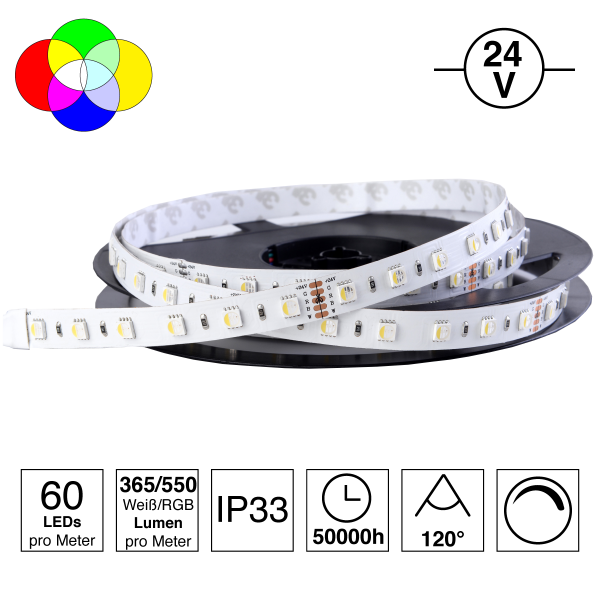 4 in 1 LED-Stripe RGBW warm-weiß, 60 LEDs/m, 24V, 19,2W/m, 3000K, Ra >80, IP33, Rolle 5m | weiß